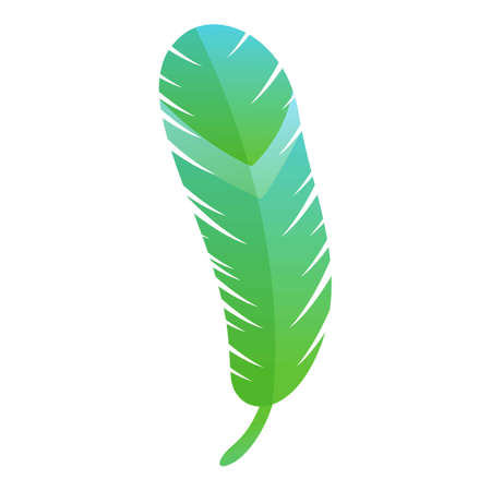 Green feather icon. Cartoon of green feather vector icon for web design isolated on white background