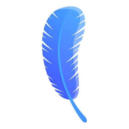 Blue feather icon. Cartoon of blue feather vector icon for web design isolated on white background