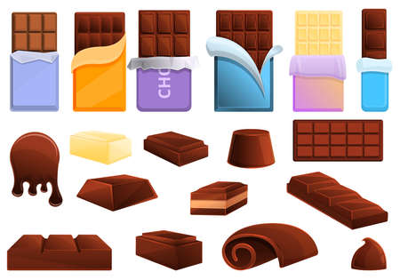Chocolate icons set. Cartoon set of chocolate vector icons for web design