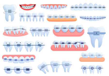 Tooth braces icons set. Cartoon set of tooth braces vector icons for web design