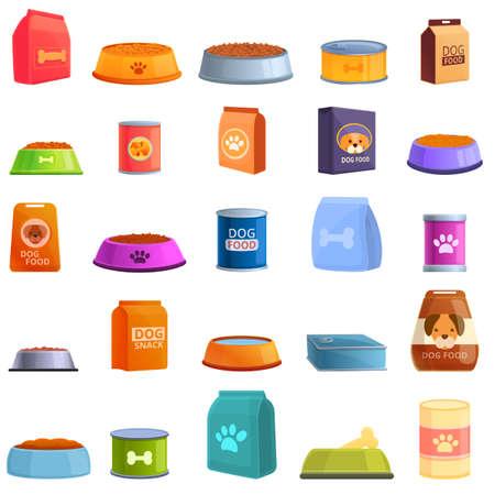Dog food icons set. Cartoon set of dog food vector icons for web design Ilustración de vector