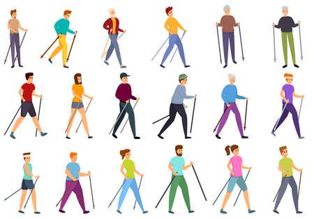 Nordic walking icons set, cartoon style