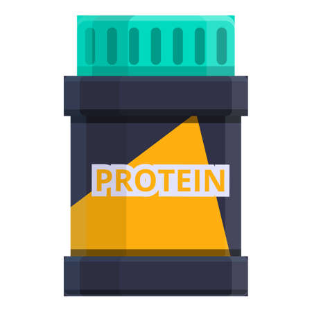 Protein meal jar icon, cartoon style