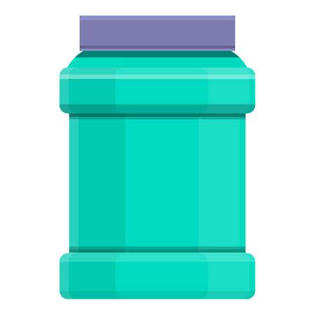Protein powder can icon, cartoon style