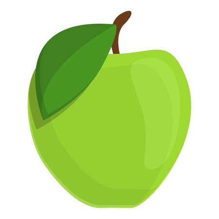 Green apple icon, cartoon style
