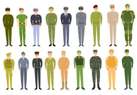 Military uniform icons set, cartoon style Illusztráció