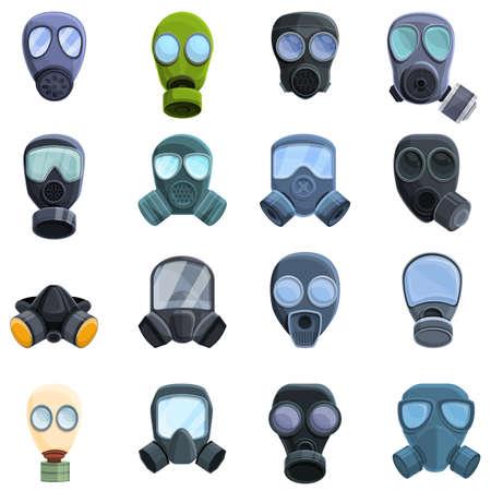 Gas mask icons set, cartoon style 向量圖像