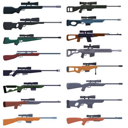 Sniper weapon icons set, cartoon style