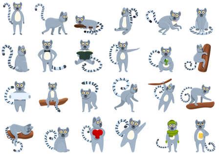 Lemur icons set, cartoon style