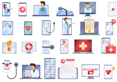 Telemedicine icons set, cartoon style