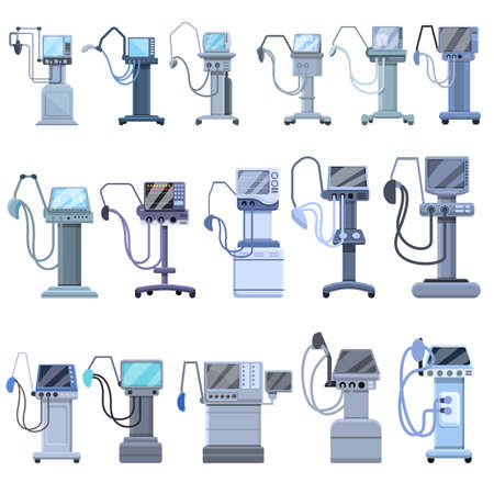 Ventilator Medical Machine icons set, cartoon style