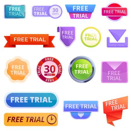 Free trial version icons set, cartoon style