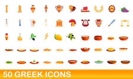50 greek icons set, cartoon style