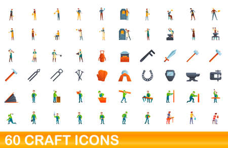 60 craft icons set, cartoon style