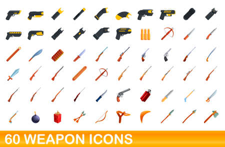 60 weapon icons set, cartoon style