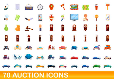 70 auction icons set, cartoon style
