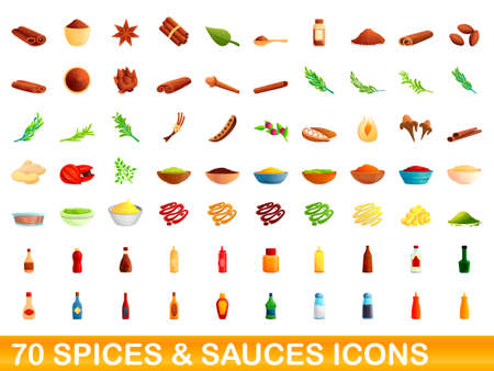 70 spices and sauces icons set, cartoon style