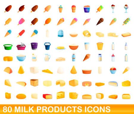80 milk products icons set, cartoon style 일러스트