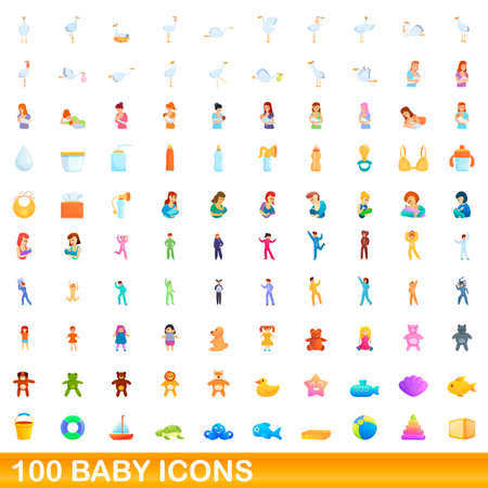 100 baby icons set, cartoon style 矢量图像