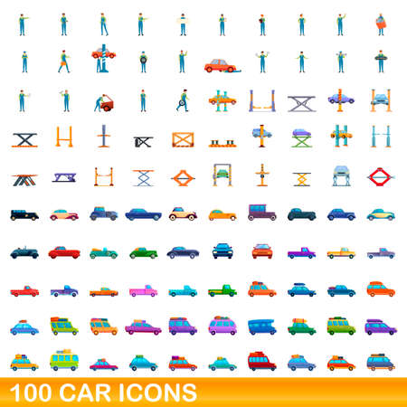 100 car icons set, cartoon style
