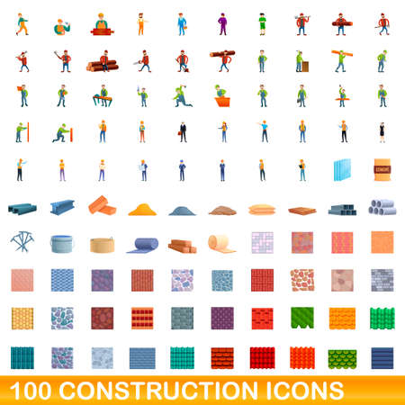 100 construction icons set, cartoon style