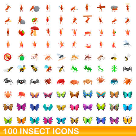 100 insect icons set, cartoon style Illustration