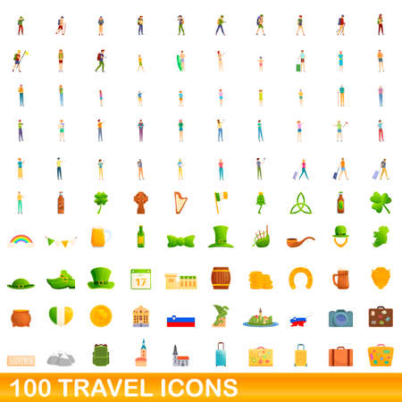 100 travel icons set, cartoon style 矢量图像