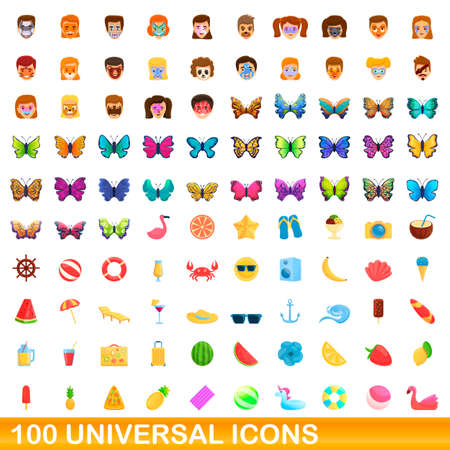 100 universal icons set, cartoon style  イラスト・ベクター素材