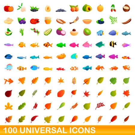 100 universal icons set, cartoon style Illustration