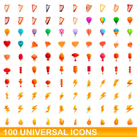 100 universal icons set, cartoon style Ilustrace