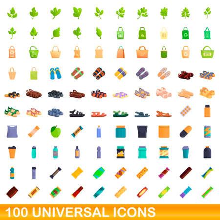 100 universal icons set, cartoon style Ilustração