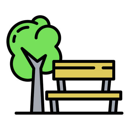 Kids playground bench icon, outline style Illustration