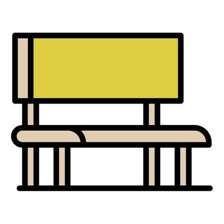 Outdoor advertising bench icon, outline style