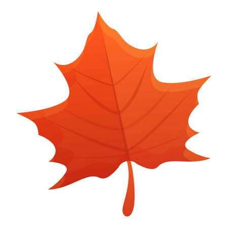 Maple red leaf icon, cartoon style