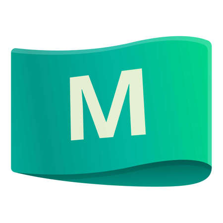 M size cloth label icon, cartoon style