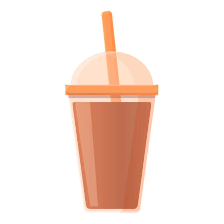 Tea plastic cup icon, cartoon style