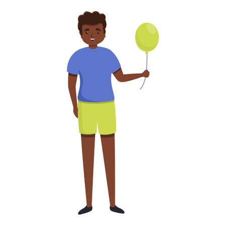 African boy with balloon icon, cartoon style