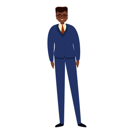 African businessman icon, cartoon style