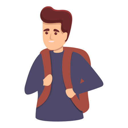 Guy with backpack icon, cartoon style