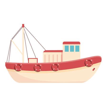 Fishing boat icon, cartoon style