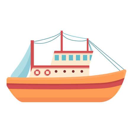 Fishing vessel icon, cartoon style