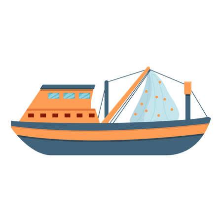 Marine fishing vessel icon, cartoon style