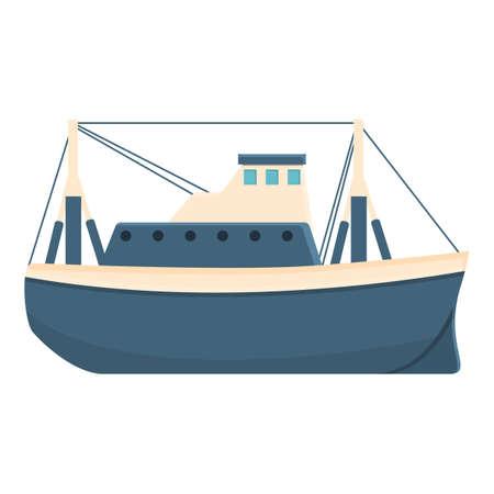 River fishing boat icon, cartoon style 矢量图像