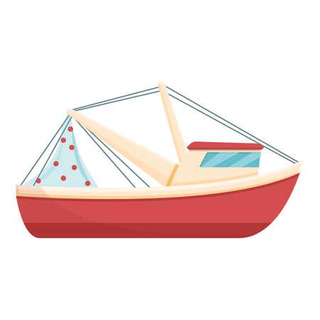Modern fishing boat icon, cartoon style 矢量图像