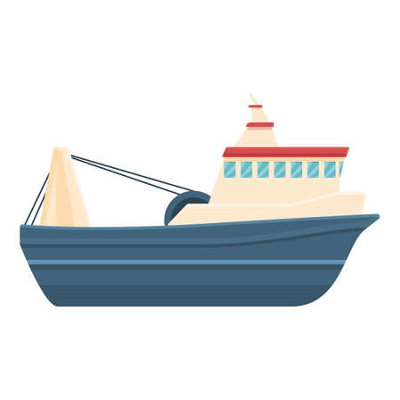 Large fishing boat icon, cartoon style 矢量图像