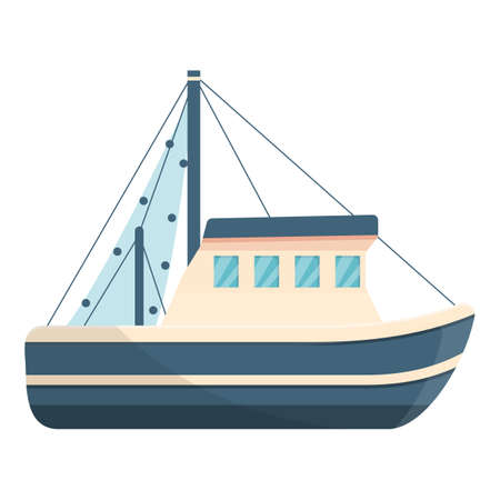 Motor fishing boat icon, cartoon style