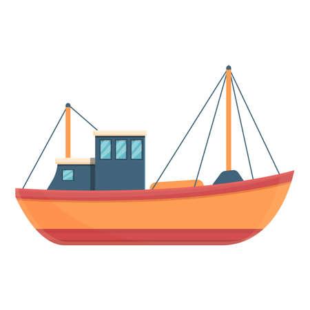 Comfortable fishing boat icon, cartoon style 矢量图像