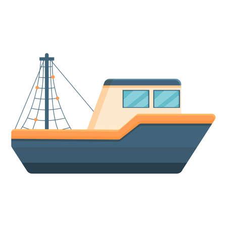 Fast fishing boat icon, cartoon style