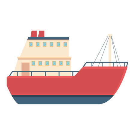 Red fishing boat icon, cartoon style