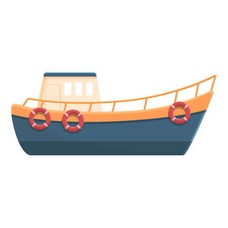 Fishing boat with life buoy icon, cartoon style